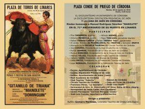 "HOMENAJE A MANUEL RODRÍGUEZ SÁNCHEZ ""MANOLETE"" @ PLAZA CONDE DE PRIEGO"